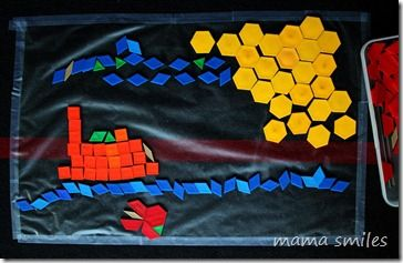 pattern blocks on contact paper.  Such a great idea!