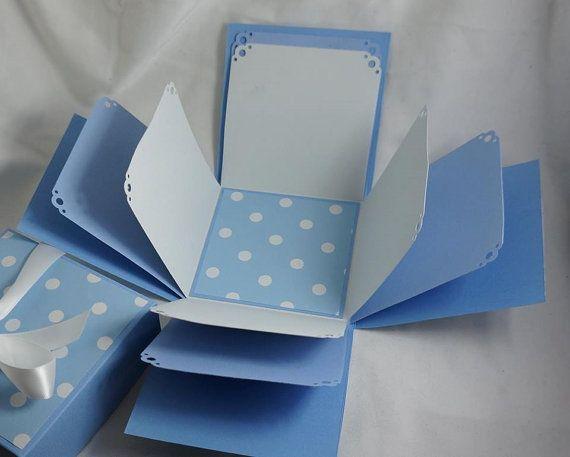 Blue Polka Dot Explosion Box - Exploding Box - Photo Box - Memories Box
