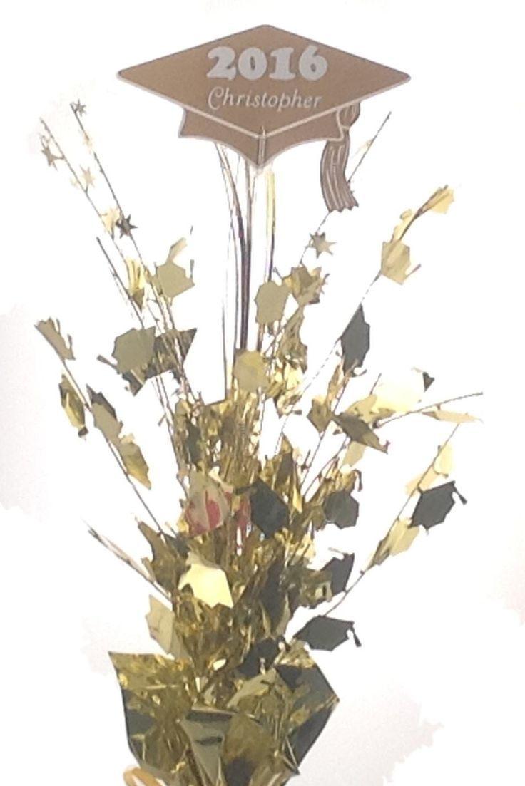 Personalized year & Name Metallic Gold Graduation Balloon Weight Centerpiece