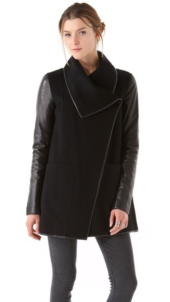 darn its expensive but beautiful   Mackage Wool Coat with Leather Sleeves