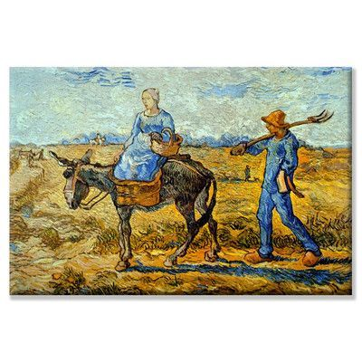 Buyenlarge Morning Pitchfork His Wife Riding a Donkey And Carrying a Basket Painting Print on Wrapped Canvas Size: 2