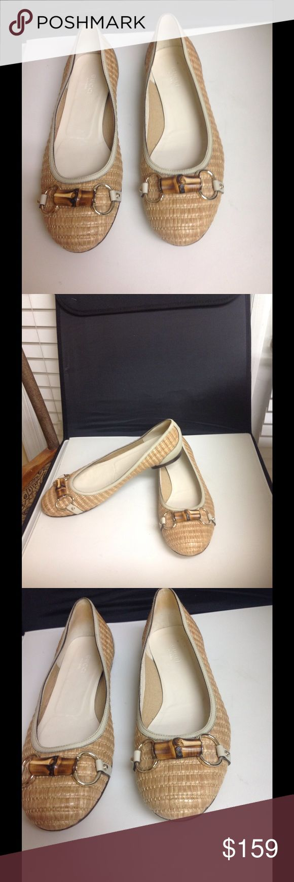 GuiccinBallet Horsebit Flats Size 8.5 Adorable canvas and leather horsebit design size 8.5 by designer Gucci. Great classic style, beautiful condition, low price. Gucci Shoes Flats & Loafers