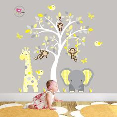 Jungle Decal feat. cheeky monkey, a giraffe and baby elephant, white tree mural. Gender Neutral Wall Stickers. Yellow and Grey nursery decor