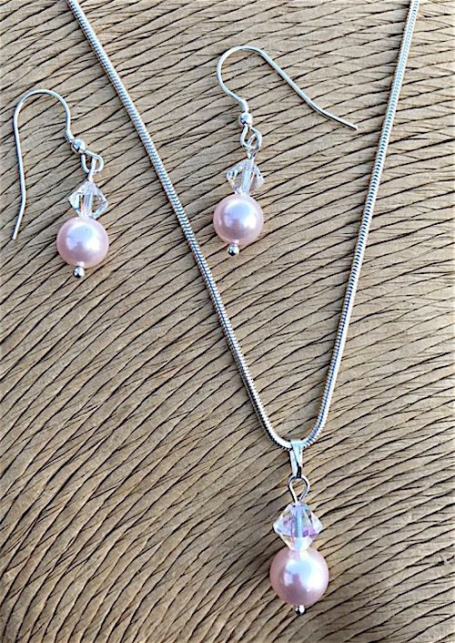 Pink Pearl and Crystal Necklace and Earring Set - Bridal Jewellery  £29.99