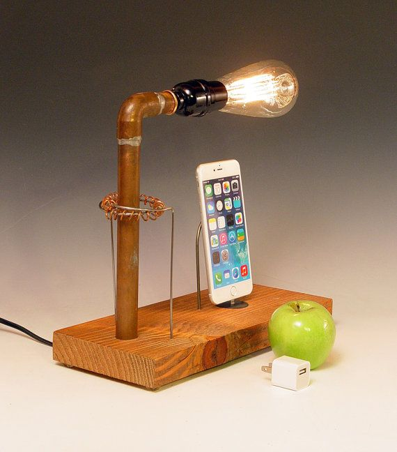 dock for any iphone and table lamp recycled wood copper pipes edison bulb usb wall charger. Black Bedroom Furniture Sets. Home Design Ideas
