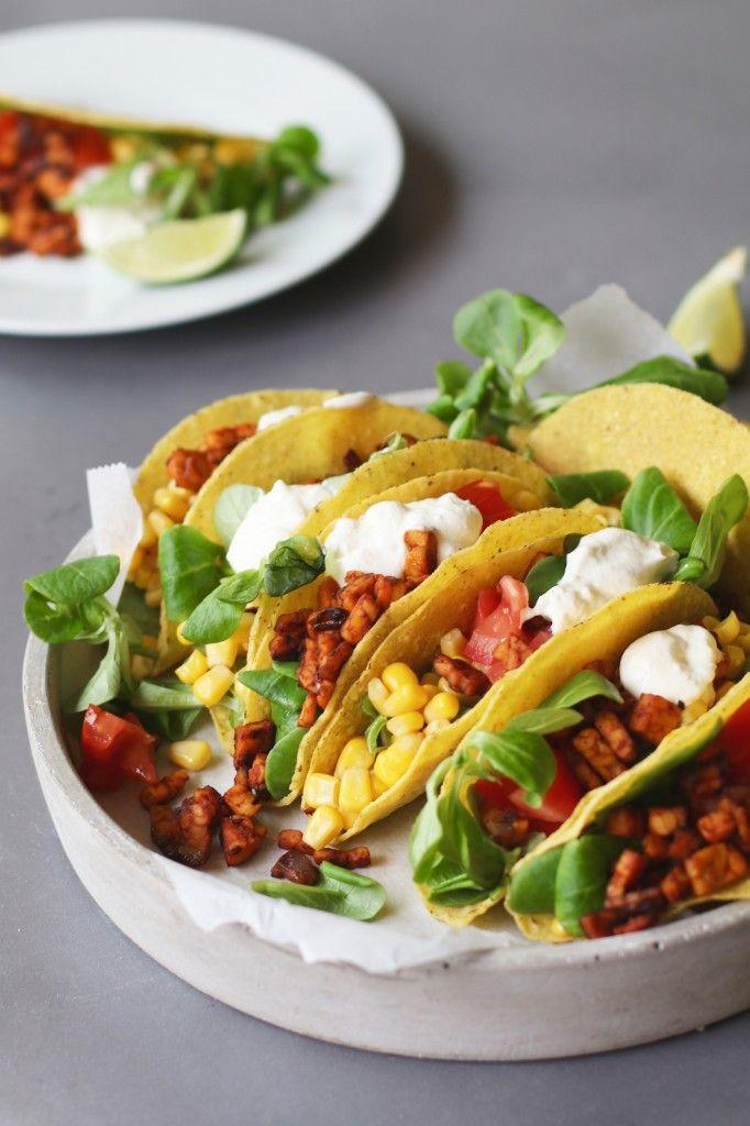 Mexicaanse taco's met tempehgehakt, Recepten met tempeh, Vegetarische hoofdgerechten, Vegetarische taco's, Vegetarisch gehakt recept,Vegetarische foodblogs, Beaufood recepten, Gezond avondeten