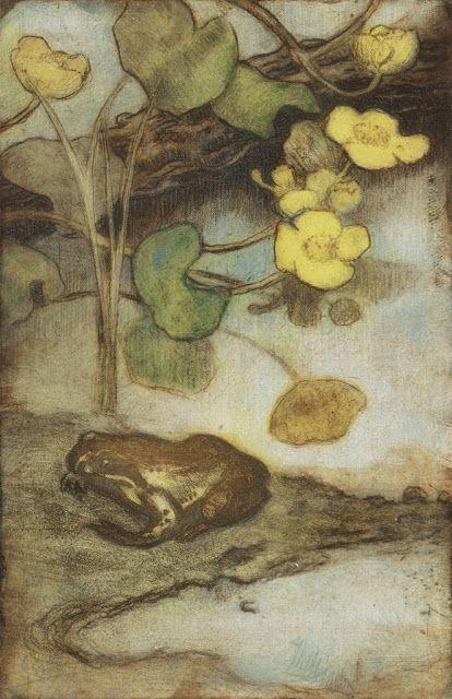 """Eero Järnefelt (1863–1937) Marsh marigold and the Frog, 1916, Atheneum Art Museum - Hieno pehmeäpohjasyövytys Tuusulanjärveltä: """"Rentukka ja sammakko"""""""