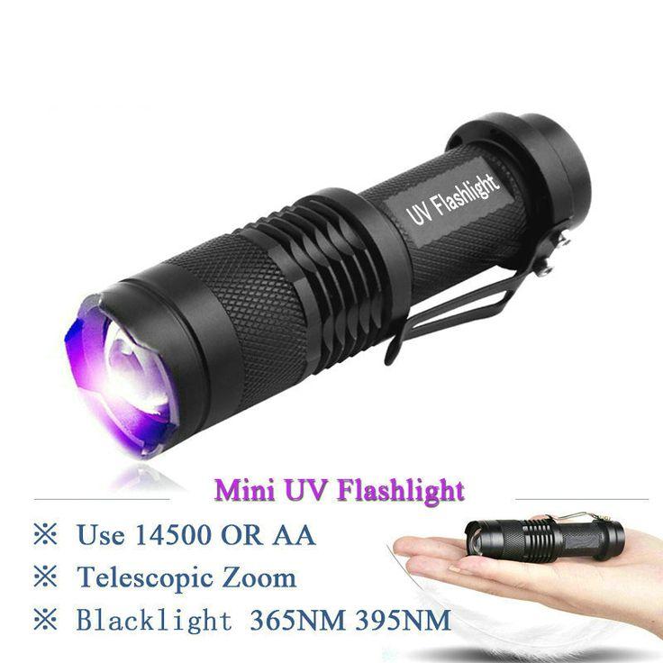 Profession Fluorescent detection Zoom 365nm uv LED flashlight Catch scorpion 395nm led uv flash light lamp AA or 14500 battery #Affiliate