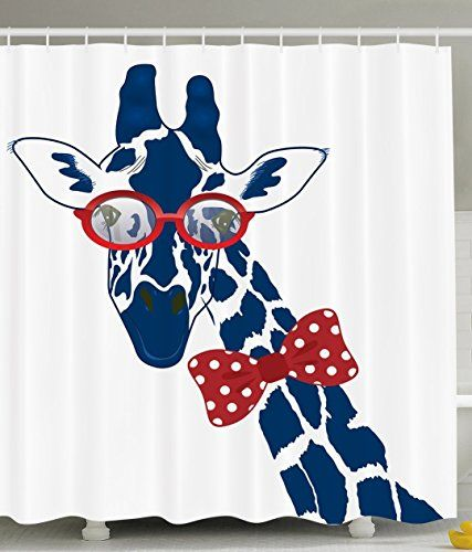 Cool Shower Curtains Funny Giraffe Wearing Hipster Sunglasses Polyester fabric Shower Navy, Red, and White