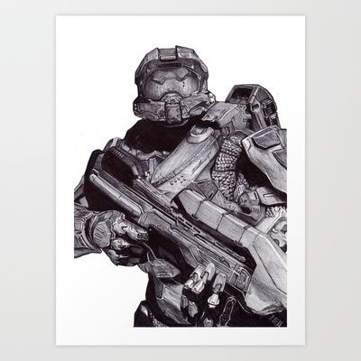 Master Chief Pen Drawing Art Print by DeMoose_Art - $20.00 Free Worldwide Shipping Over $75