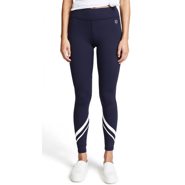 Tory Sport Chevron Full Length Leggings (165 AUD) ❤ liked on Polyvore featuring activewear, activewear pants, tory navy, navy jersey, navy blue jersey and blue jersey