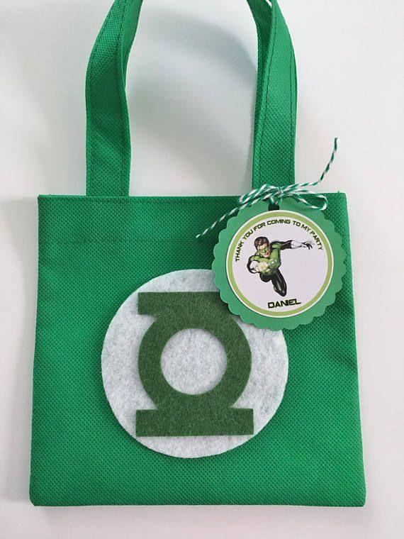 Conjunto de 12 bolsas de Favor de linterna verde con etiquetas