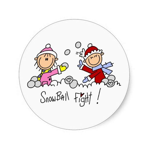 Two stick figure kids having a snowball fight on winter theme T-shirts, cards, mugs, tote bags, stickers, and other items that you can customize with a name or other text.