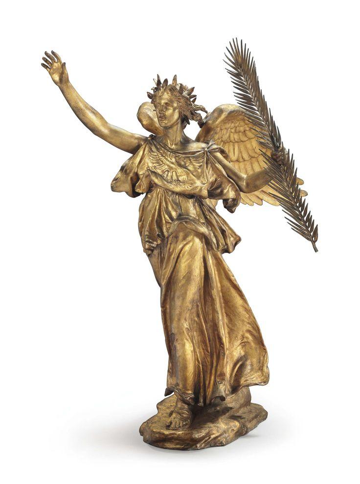 """Augustus Saint-Gaudens (American): Cast Gilt Bronze Sculpture, """"Victory"""" (1912) [$2.047 million (2017)]"""