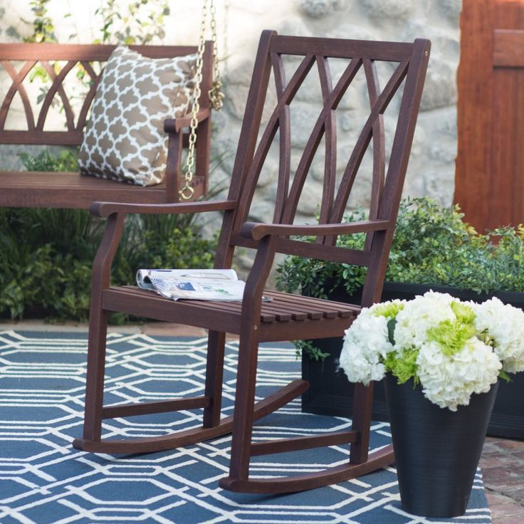 ... Wood Rocking Chair - Dark Brown - Outdoor Rocking Chairs at Hayneedle