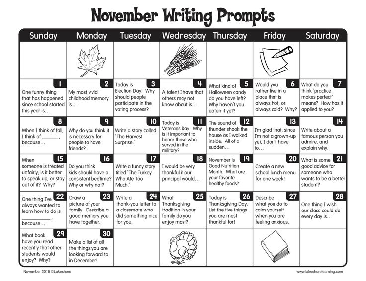 November Writing Prompts from Lakeshore Learning!