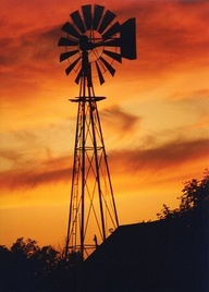 Windmill silhouette- Takes me back home....Kansas!