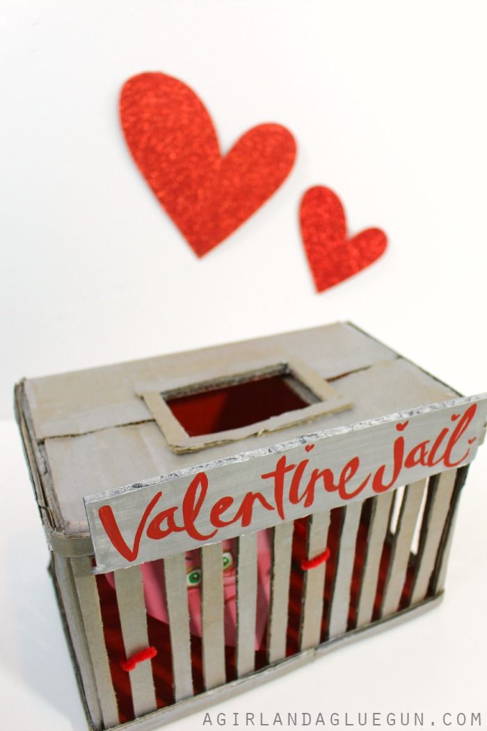 Valentine Day's boxes for School with Plaid crafts!