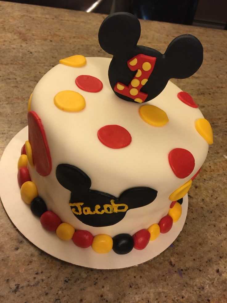 Mickey Mouse Smash Cake Cake Couture By Nicole Solano