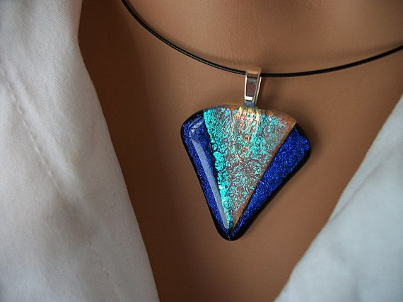 Small Dichroic Glass Deco Diamond Pendant DGP14A214   by DUNEGLASS, $16.00