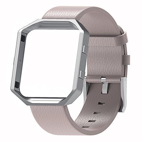 Henoda for Fitbit Blaze Bands Leather Small Large Strap Smart Fitness Watch Band Women Men (A Taupe Band and Silver Frame S/P Size)