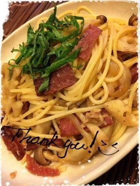 レンコンとサラミ・季節の和風パスタ by cook☆244☆ [クックパッド ...