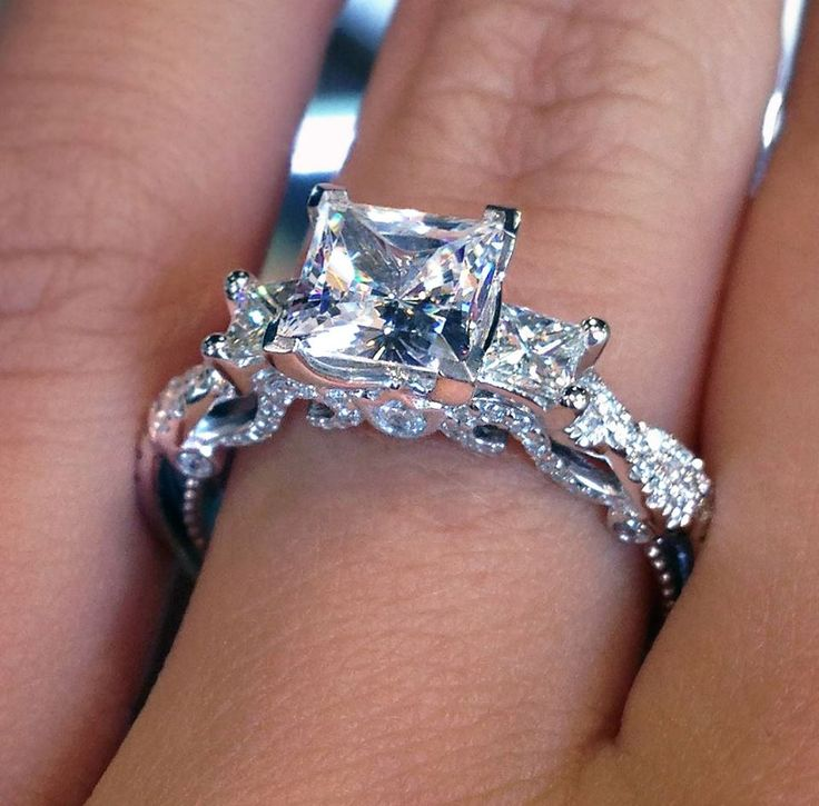 A #Verragio princess cut engagement ring fit for royalty! SWEET BABY JESUS ITS PERFECT