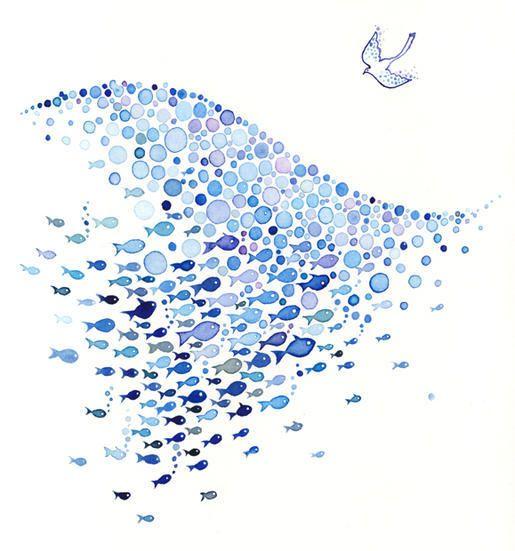 Rythme créé par les poissons et les bulles.