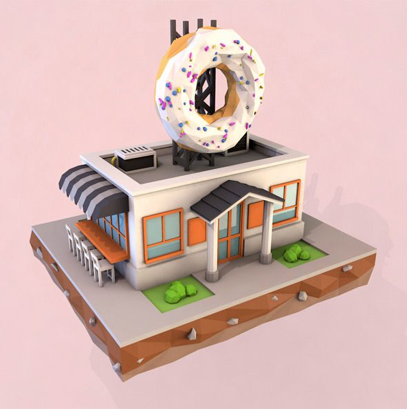 Cartoon Doughnut Factory: 25 Best Images About Low Poly Buildings On Pinterest