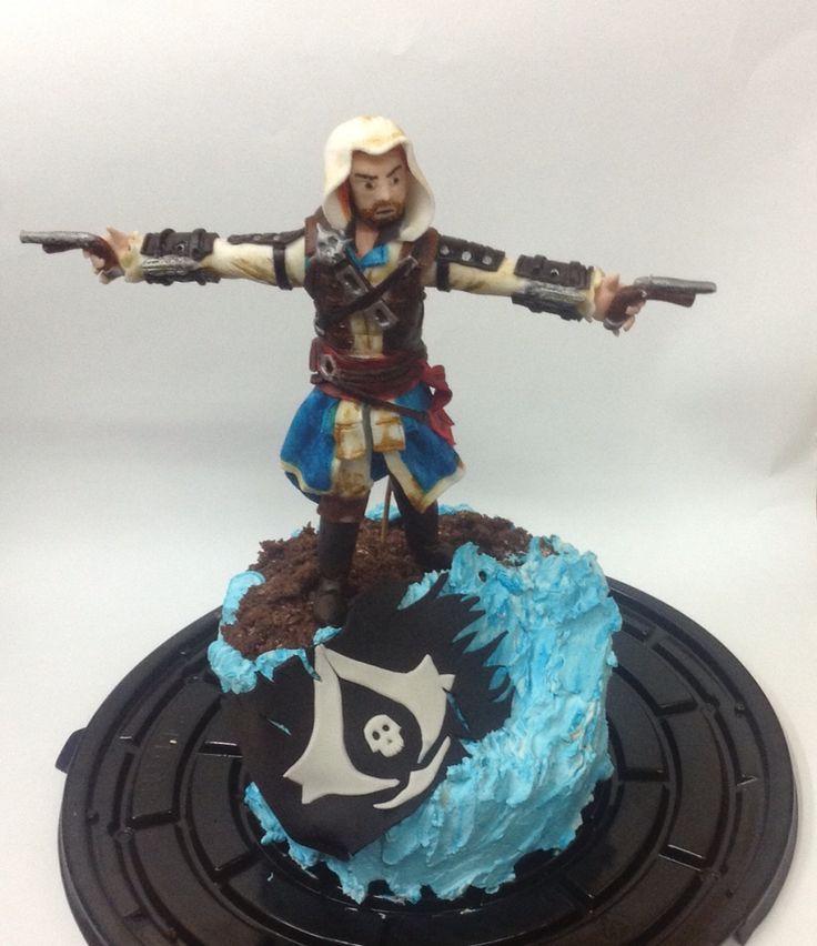 Assassins Creed cake!!  Edward Kenway. #gamer #assasinscreed #cake #pirates