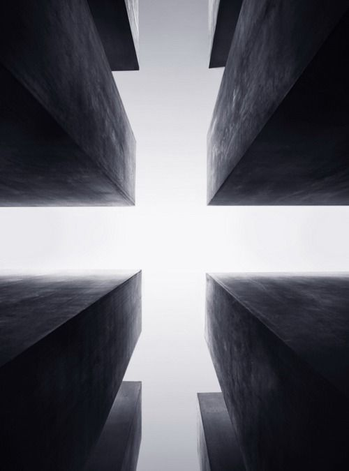 Holocaust Memorial, Berlin - Designed by Peter Eisenman - This captures that scary, trapped feeling being in the midst of the memorial evokes - very powerful.