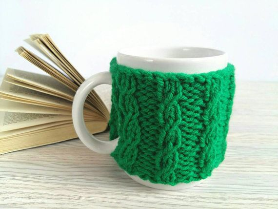 Coffee Cup Warmer  Knitted Cup Holder  Mug Cover  by 3LittlePurls