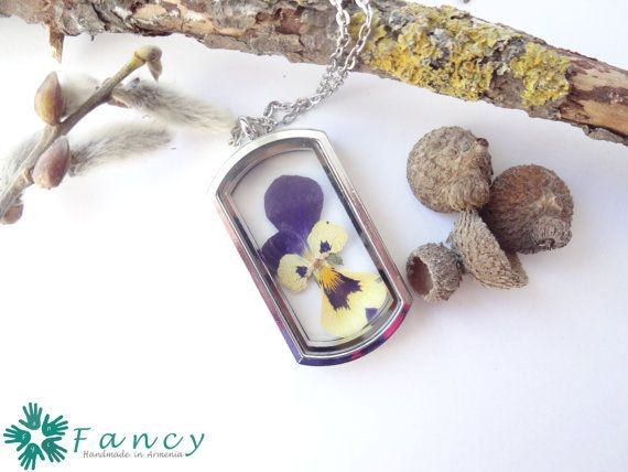 Real pansy necklace  viola jewelry  dried by FancyHandmadeArmenia