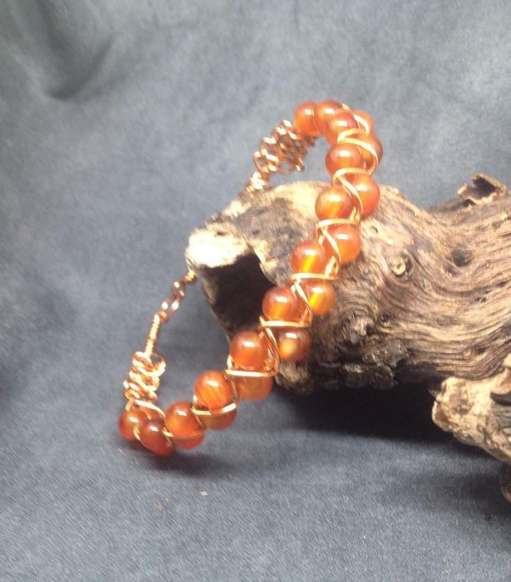 Carnelian Bracelet, Beaded Wrap Bracelet, Wire Wrapped Bracelet, Copper Wire Bracelet, Women's Plus Size Bracelet, Boho Beaded Wrap by KarenMSmithDesigns on Etsy