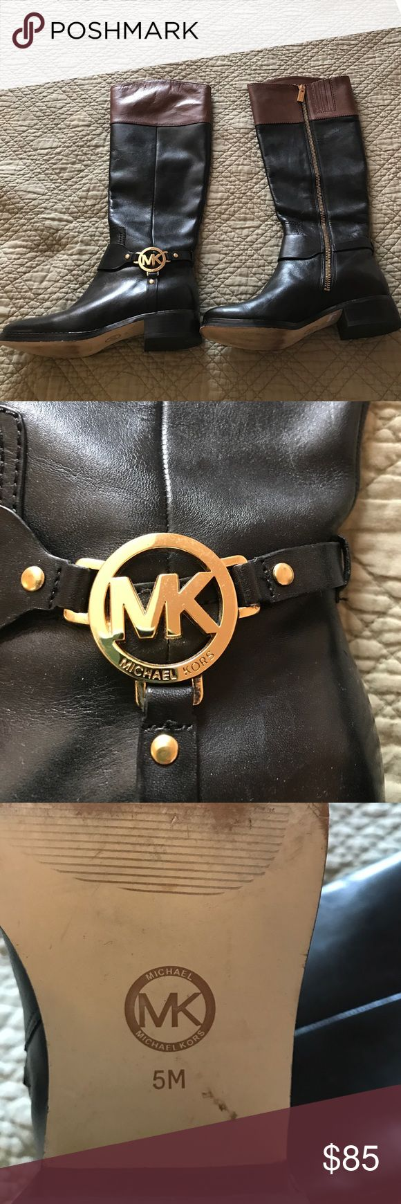 👢Michael Kors Boots 👢 Black and Tan MK boots; bought used, worn once after purchase MICHAEL Michael Kors Shoes Heeled Boots