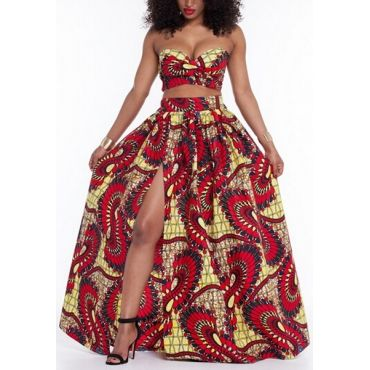 USD11.49Trendy Strapless Printed High Split Red Qmilch Two-piece Skirt Set