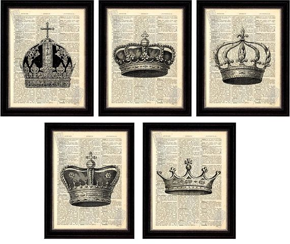 Set of 5 Beautiful Crown Prints on Upcycled 1896 Latin English Dictionary Page that will make a royal display Only 4.80 per print - fantastic deal FREE Gift Card can be included Each page is approx. 145mm x 180mm 5.75 x 7inches - Page a little smaller that others available, but make a