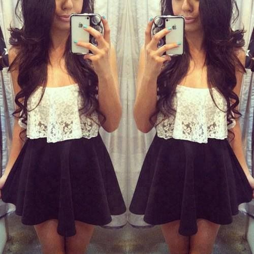 Cute lace black & white outfit