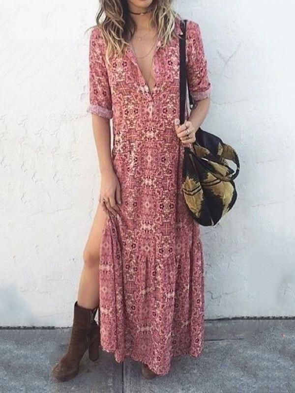 11e987bf7 Sexy V Neck Floral Printed Side Split Vacation Maxi Dress | Style ...