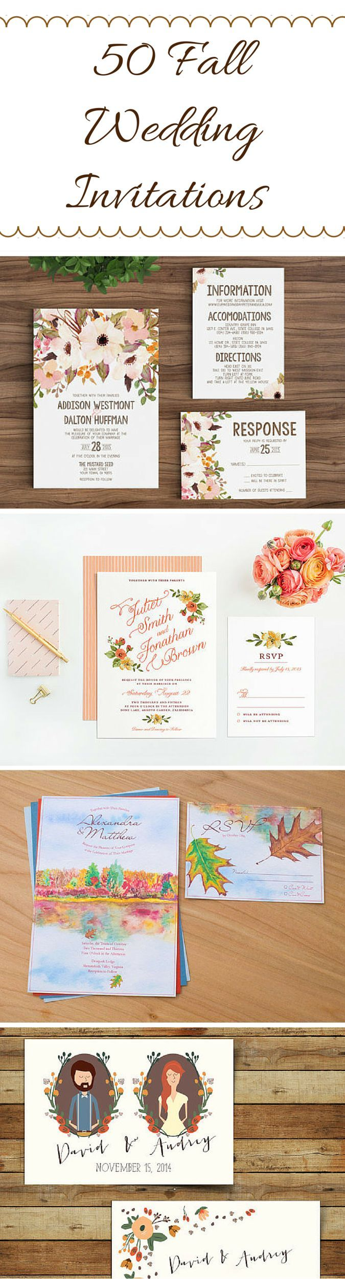 in wedding invitations is the man s name first%0A Illustrated Couples Portrait Autumn Wedding Invitations Woodland Wedding  Invitations  don u    t like the colours  Fall Oak Tree Falling in Love Wedding