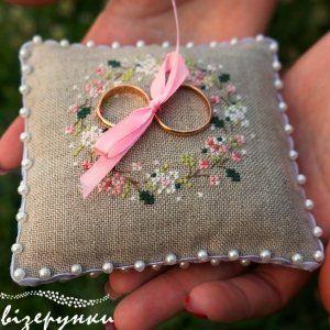 Свадебная подушечка для колец Жемчужина любви