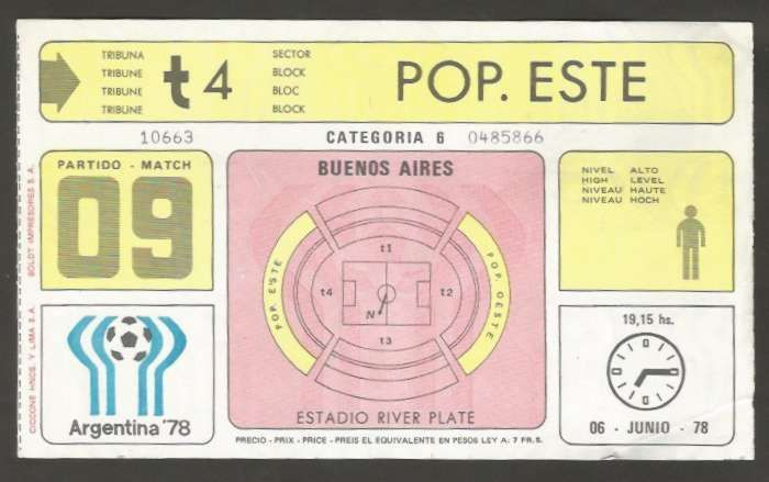 Argentina Soccer World Cup 1978 Ticket # 09 Used    eBay