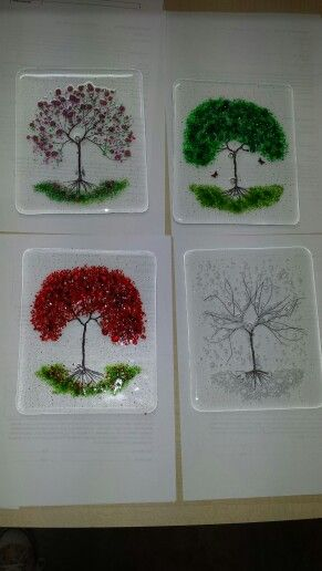 The four seasons, fused glass copper trees with frit