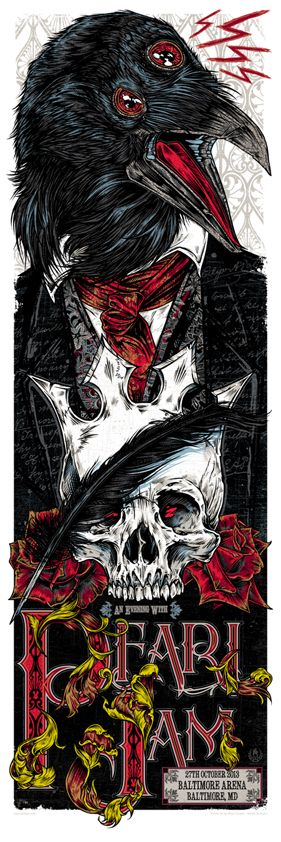 Studio Seppuku - The Art of Rhys Cooper — PEARL JAM - Edgar Allan Poe gigposter - Baltimore MD