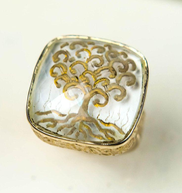 tree of life quartz ring,925 sterling silver ring,rock crystal ring, Noemon,reverse intaglio ring, engraved gem,gold by NoemonHouseOfDesign on Etsy