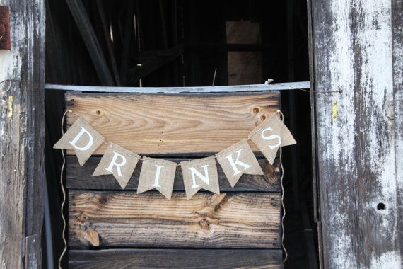 DRINKS burlap banner  Wedding Banner  by butterflyabove on Etsy, $22.00