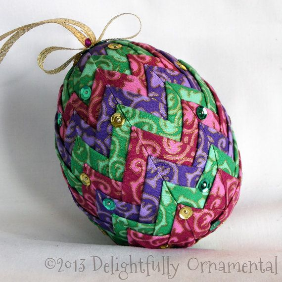 NEW Quilted Easter Egg Ornament Christmas Decoration pink