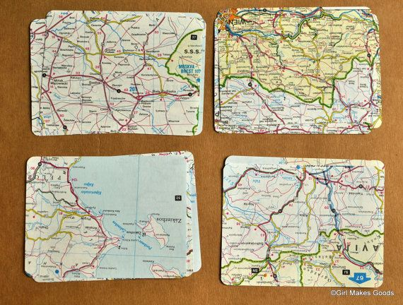 Vintage Journal Cards--Project Life--Maps.  Love this idea for traveling pages using the maps from rentals in Ireland etc.