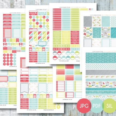 Free Monthly Printable Planner Stickers Set - Rainy Day 2 - Erin Condren