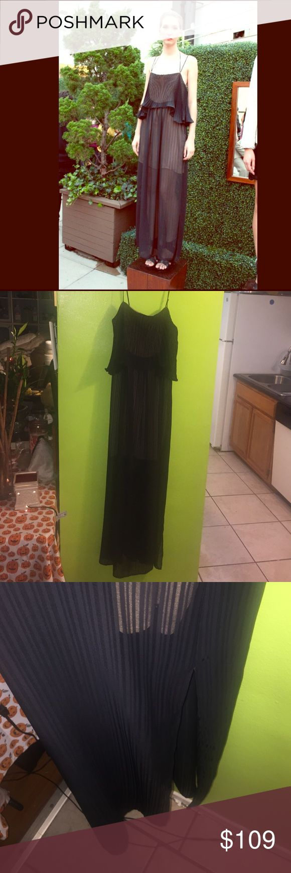 W118 Black Chiffon Maxi Dress Black maxi dress same exact one as Walter Baker presented in his spring collection on the rooftop of the Empire Hotel.                                   Slits on sides of Dress NWOT W118 by Walter Baker Dresses Maxi